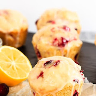 Glazed Lemon Cranberry Muffins.