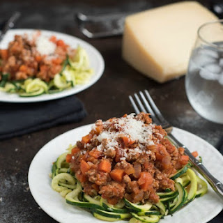 Turkey Meat Sauce Over Zucchini Noodles {Gluten Free}