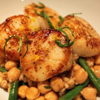 Seared Wild Sea Scallops With Garbanzo Beans and Barley