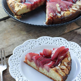 Almond Poached Pear Brioche Cake with Red Wine Caramel