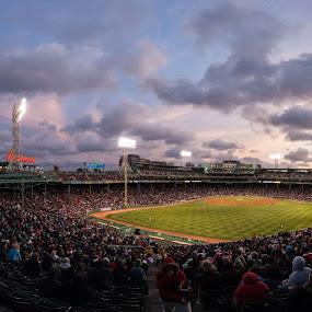 by Daniel Olsen - Sports & Fitness Baseball ( clouds, red sox, boston, baseball, fenway park, sports, panoramic )
