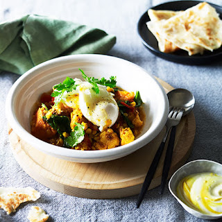 Breakfast Curry With Roti And Poached Egg.