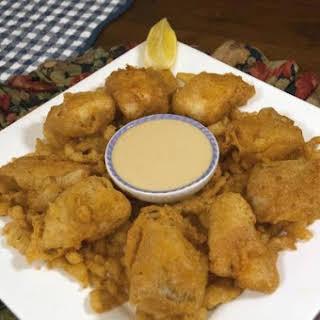Deep Fried Catfish Bites with a Kickback Sauce.