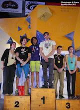 Photo: Championnat de France d'escalade - bloc 2013.Podium SŽnior Femmes et Hommes