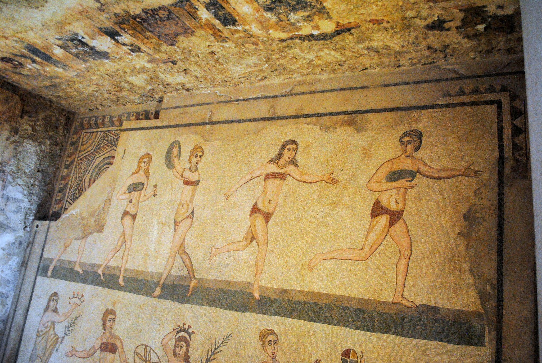 My Photos: Italy -- Mosaics -- Sicily -- Piazza Armerina -- The Mosaic of Ten Girls Wearing Bikinis