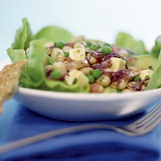 German White Bean & Pea Salad with Prosciutto & Smoked Cheese.
