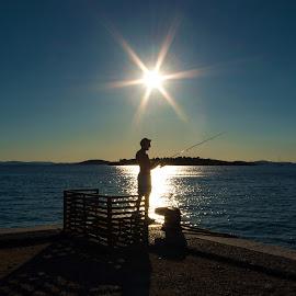 The fisherman by Branko Balaško - Sports & Fitness Other Sports ( sunset, fisherman, sea, summer, one person )