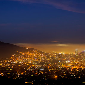 Cape Town fogged in by Reon Rich - City,  Street & Park  Vistas ( cbd, table mountain, fog, south africa, cape town,  )
