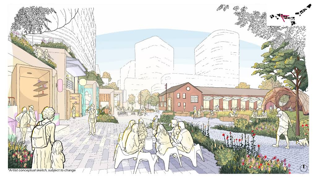 A sketch view of the people sitting, and new public spaces and buildings in the Meander.