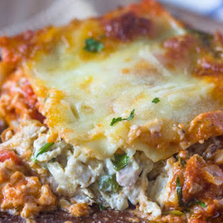 Creamy Chicken, Spinach & Cream Cheese Lasagna.