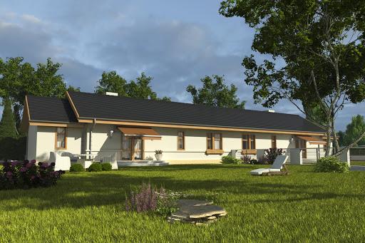projekt Skowronek z garażem 1-st. bliźniak A-BL2