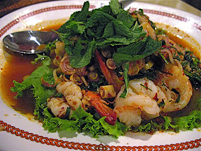 Photo: hot & sour shrimp salad with mint and lemon grass (plah gkoong)