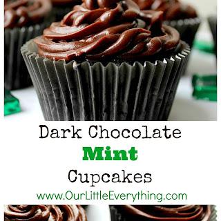 Dark Chocolate Mint Cupcakes with Chocolate Ganache Icing.