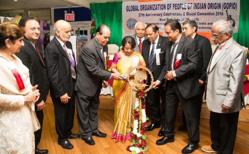 Convention Inauguration by Lighting of the Lamp by Guyana OM Mosses Nagamootoo and Ambassador Rvi Ganguly Das