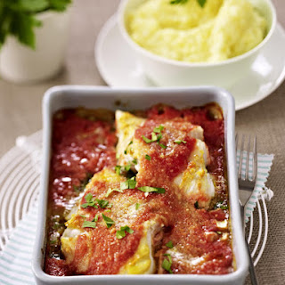 Baked Cod in Tomato Sauce with Creamy Mashed Potatoes.