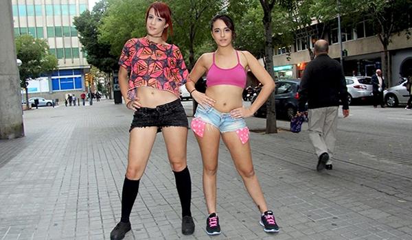 Porndoe - Nikki Litte y Lilyan Red hacen un trío en baño público con Miguel Zayas