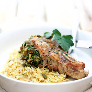 Sicilian Stuffed Pork Chops with White Wine and Caper Sauce.