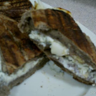 Asian Pear With Gorgonzola On Fig & Walnut Bread Panini