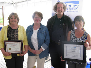 Photo: L-R: NS Learner Award Winner Sandra Morrison, Literacy Nova Scotia Executive Director Ann Marie Downie, NSPGI 2011 Poet Laureate Lorne Elliott, Provincial Learner Achievement Award Winner Darlene Ross