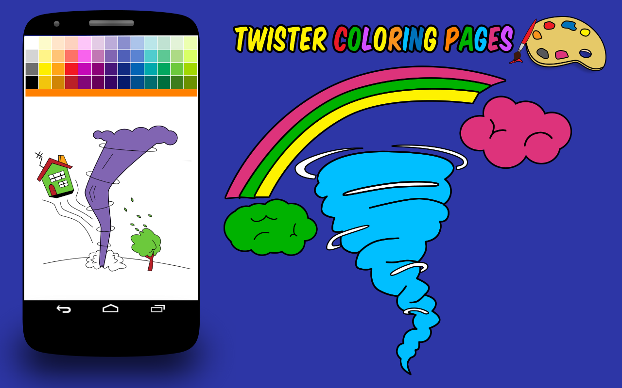 Coloring book page of a tornado - Twister Coloring Pages Screenshot
