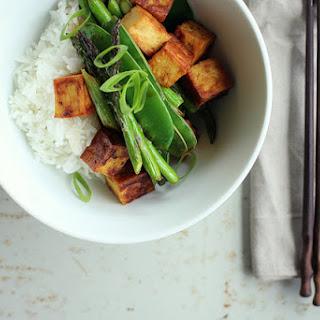 Teriyaki Tofu W/ Asparagus + Snow Peas