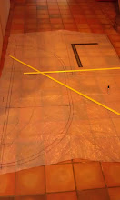 Photo: based on measurments from the hatch I used plastic sheeting to create a pattern