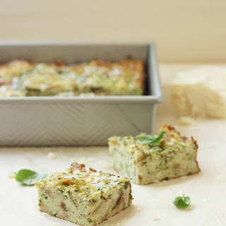 Zucchini and Parmesan Savory Bread Pudding