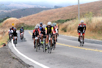Photo: Event Photo - lead double century group Pt. Reyes Petaluma Road.  Max in front, Carl off Max's left sholder, Joel Sothern two riders back off Max's right shoulder, me split off out of saddle to the left trying to get hit by a car.
