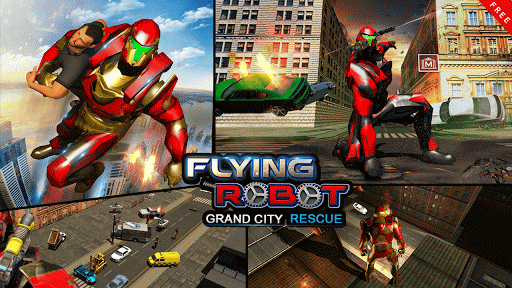 Flying Robot Grand City Rescue Spēles (APK) bezmaksas lejupielādēt Android/PC/Windows screenshot
