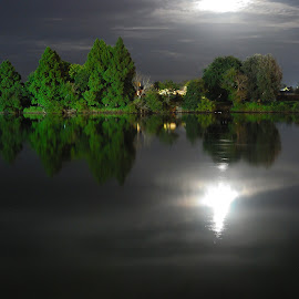 Waikato River at night by Teodora Motateanu - Landscapes Waterscapes ( moonlight, night, nightscape, river, night photography )