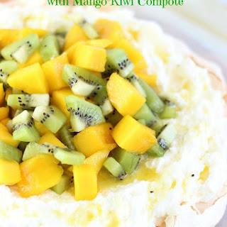 Coconut Pavlova with Mango-Kiwi Compote