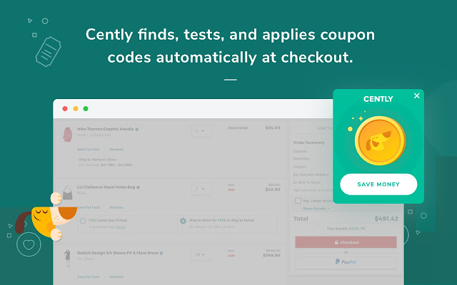Cently coupons at checkout chrome web store during checkout cently will remind you and automatically apply coupon codes for you with a single click fandeluxe Images