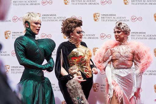 Drag Race UK's Stars Bimini Bon Boulash, Lawrence Chaney and A'Whora at the BAFTA TV Awards