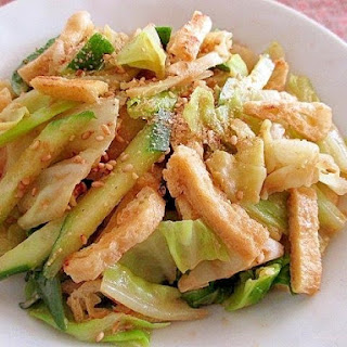 Japanese-Style Salad with Crispy Aburaage Tofu, Cucumber and Cabbage