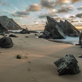 rocks by Miguel Lapa - Landscapes Sunsets & Sunrises ( sunset, adraga, sintra, portugal )