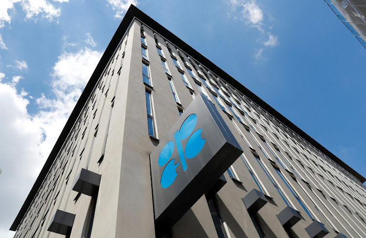 The logo of the Organization of the Petroleoum Exporting Countries (OPEC) is seen at OPEC's headquarters in Vienna, Austria.