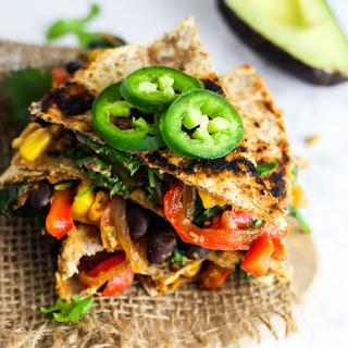 Vegan Quesadilla with Hummus & Vegetables.