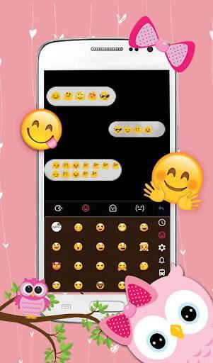 Pink Bow Owl Keyboard Theme 6.2.2 screenshots 3