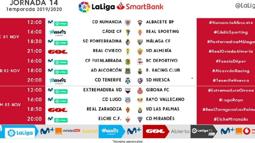 Horarios de la jornada 14 en Segunda División.