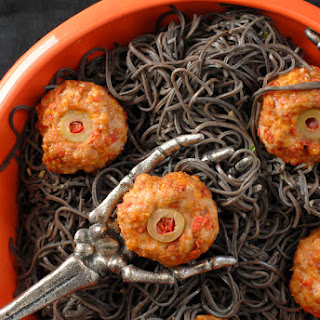 Diablo Eyeballs {taco meatballs} and Black Bean Pasta