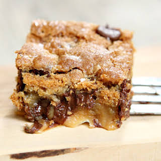 Gooey Salted Caramel Chocolate Chip Cookie Bars.
