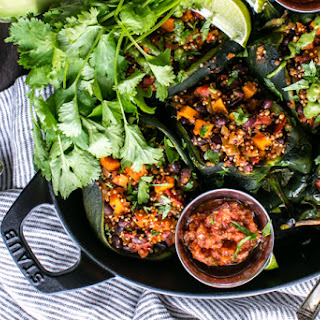 Roasted Stuffed Poblanos with Smoky Quinoa, Sweet Potatoes and Black Beans