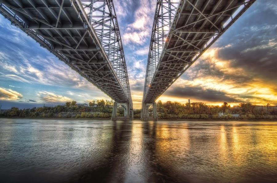 Twin Bridges by Bob Crow - Buildings & Architecture Bridges & Suspended Structures ( clouds, sunset, bridge, jefferson city, missouri river )