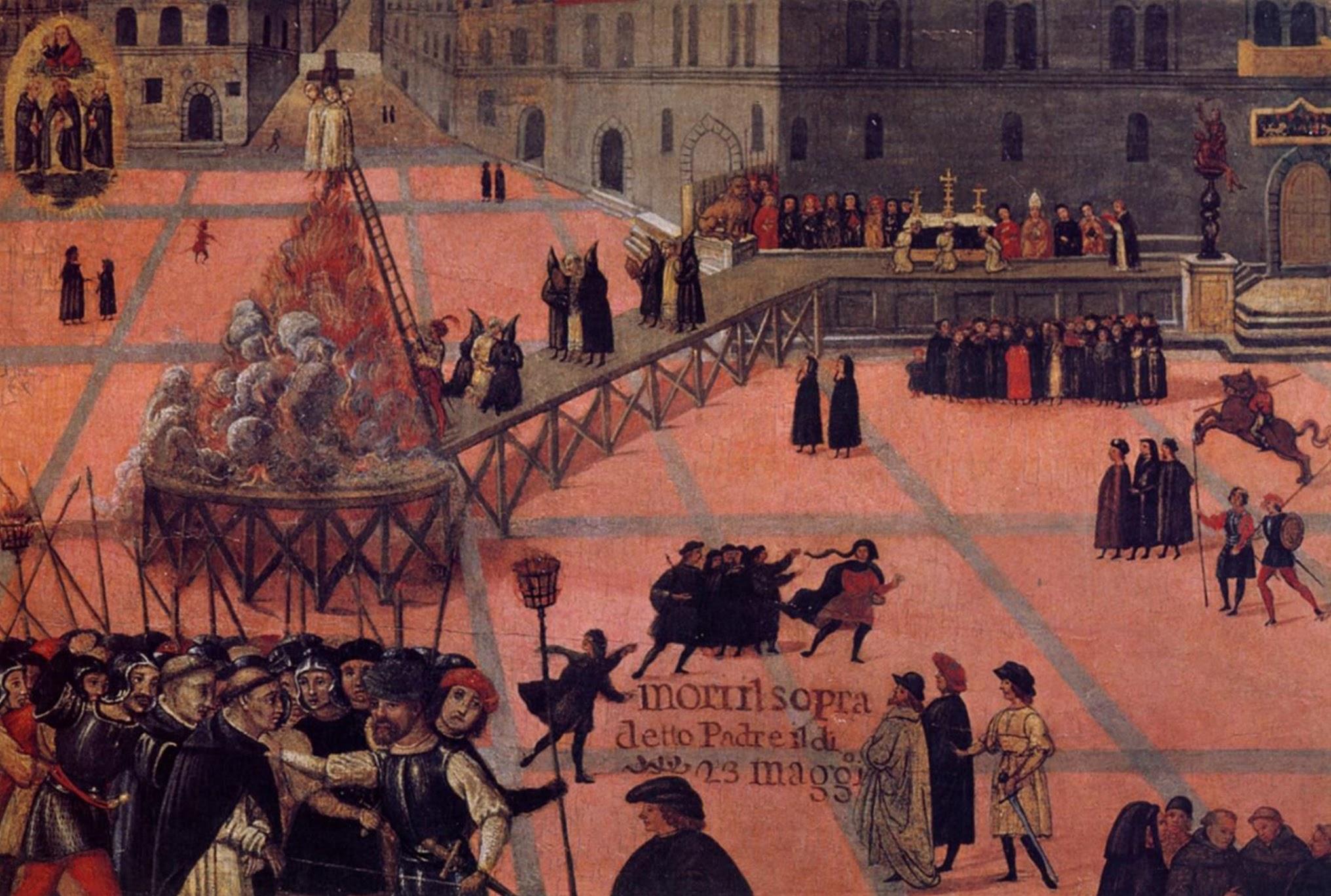 Piazza della Signoria, dettaglio della ringhiera e il Marzocco (in alto a destra), Anon, Burning of Girolamo Savonarola, May 23, 1498