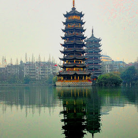 Sun and Moon Pagoda, Guilin. by Xiufen Gu - City,  Street & Park  Historic Districts ( reflection, guilin,  )