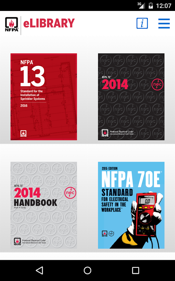 NFPA eLibrary- screenshot