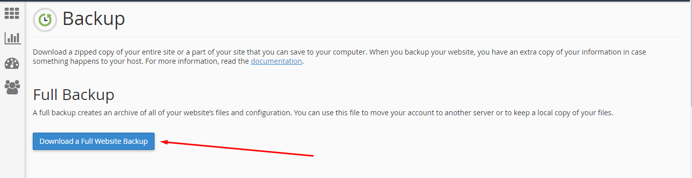 backup account hosting melalui cpanel