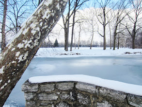 Photo: Ice and snow on stone bridges and lake at Eastwood Park in Dayton, Ohio.