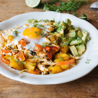 Huevos Rancheros with pulled chicken & sweet potato hash