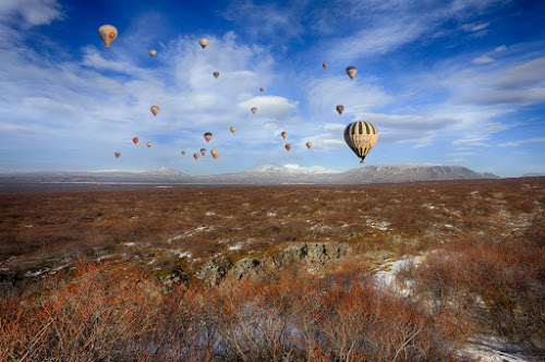 Balloons by Luca Libralato - Backgrounds Nature ( clouds, iceland, snow, balloons, country )